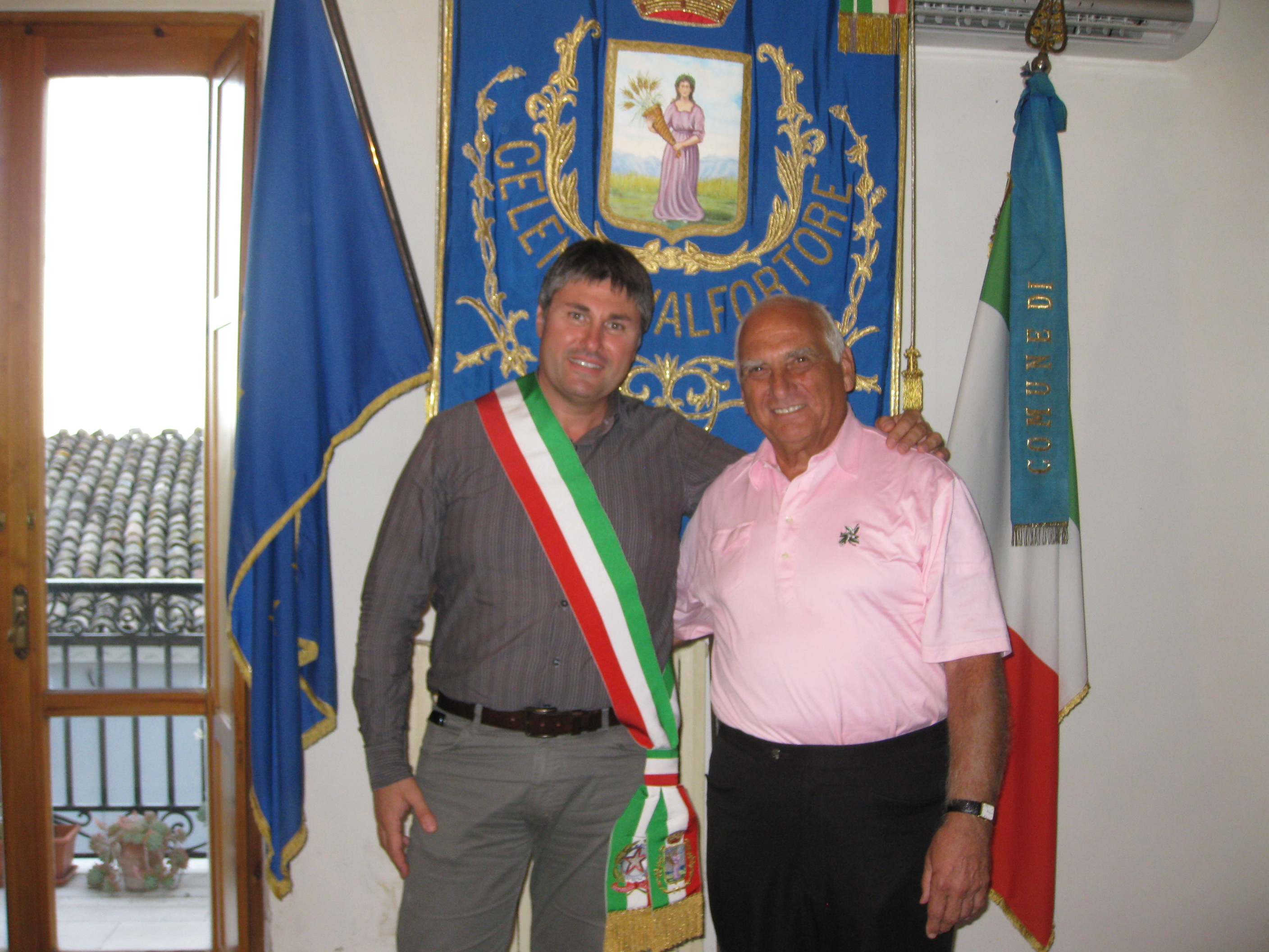 Richard Serluco with Mayor of Celenza